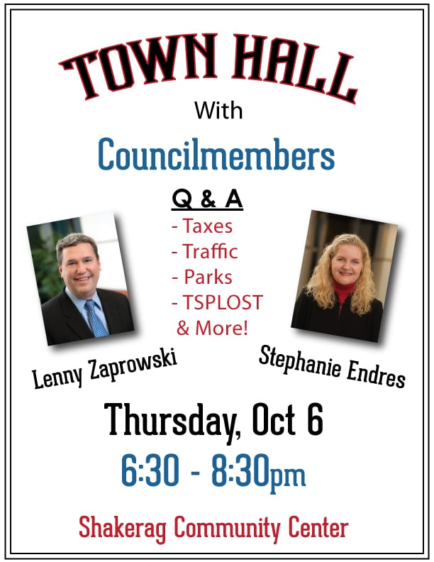 Town Hall with Councilmembers Lenny & Steph; Oct 6th 6:30-8:30pm