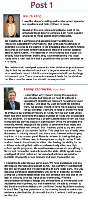 Ask the Candidates: What are your thoughts on creating a park in Johns Creek capable of hosting sports tournaments?
