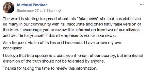 """Bodker calls JCP """"Fake News"""""""
