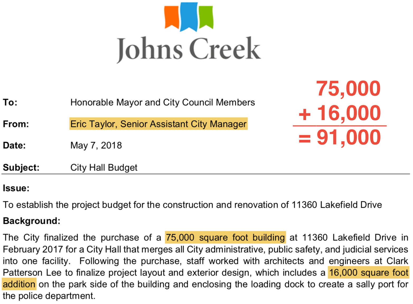 City-Hall expansion calculation Johns Creek Post