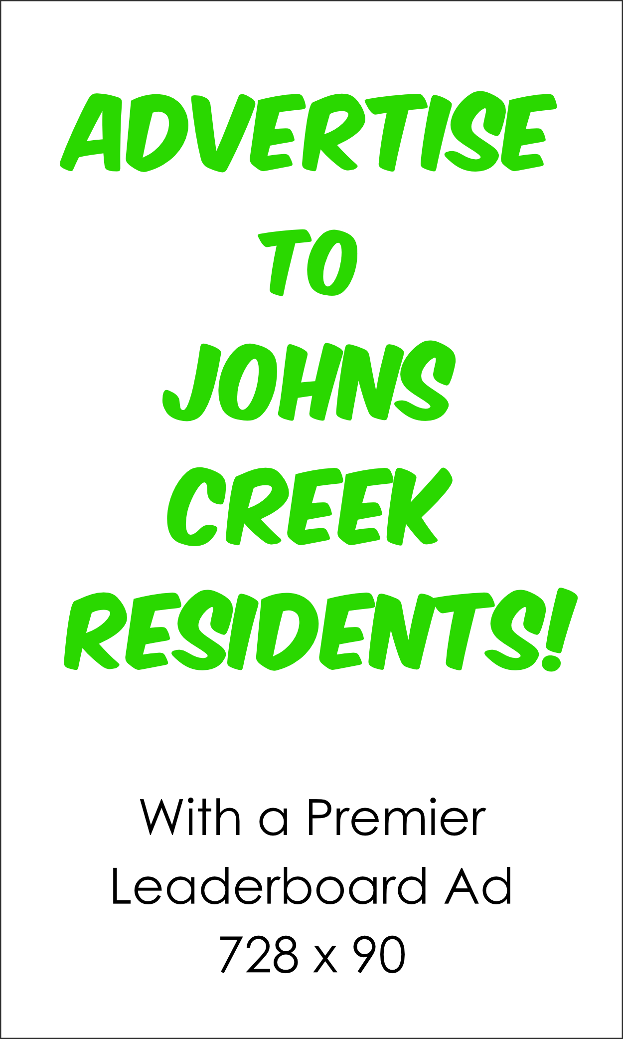 Leaderboard Display Ad - Advertising on Johns Creek Post