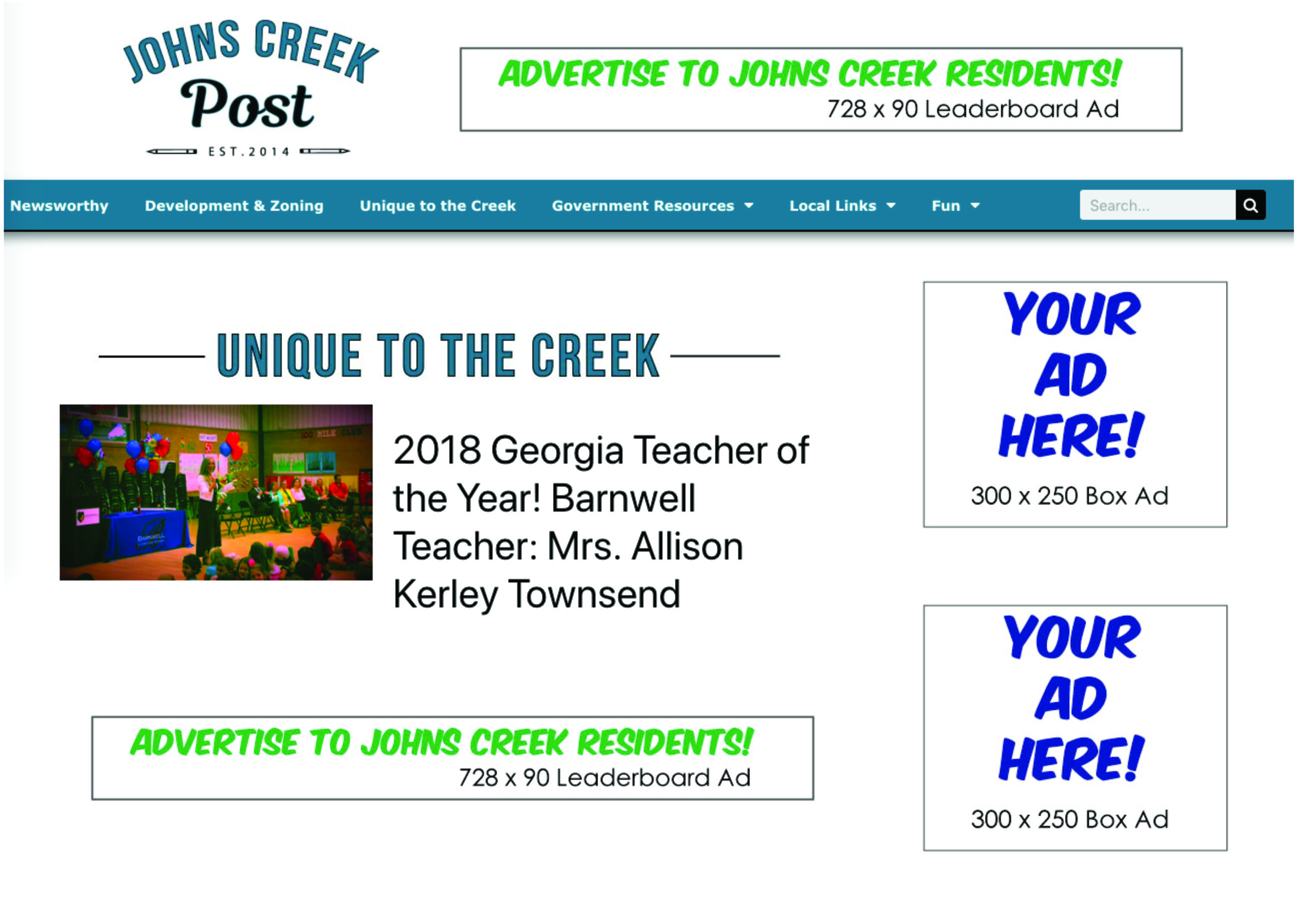 Johns Creek Post Ad Spot Options