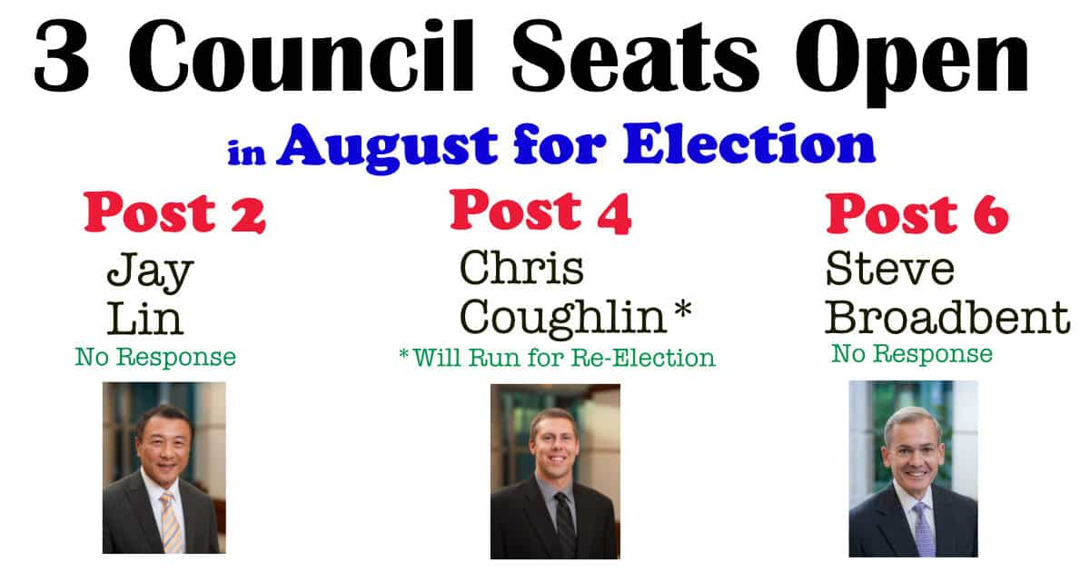 3 Council seats open in August 2019