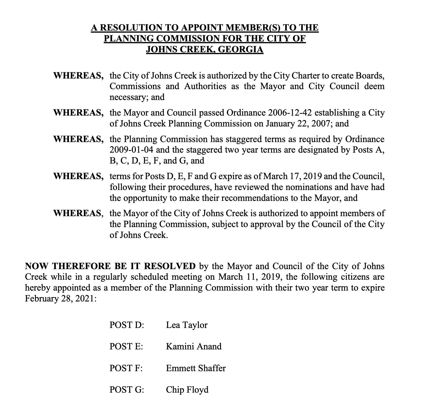 Planning Commission Resolution