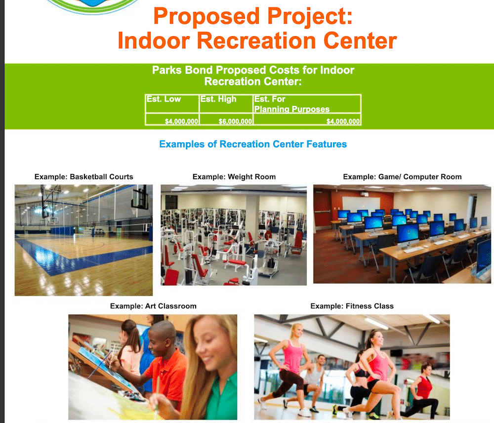 Indoor Rec Center Proposed Park