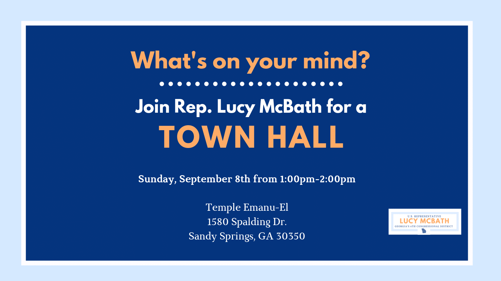 Congresswoman Lucy McBath Town Hall