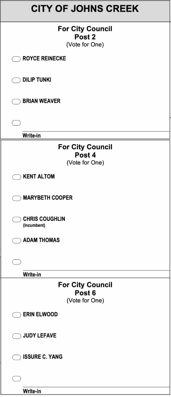 2019 Johns Creek Ballot