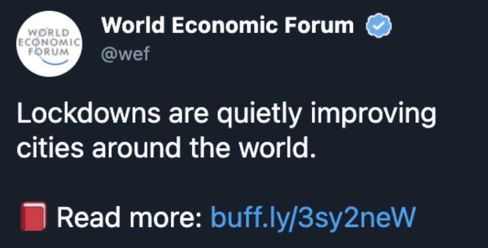 WEF Lockdown Tweet